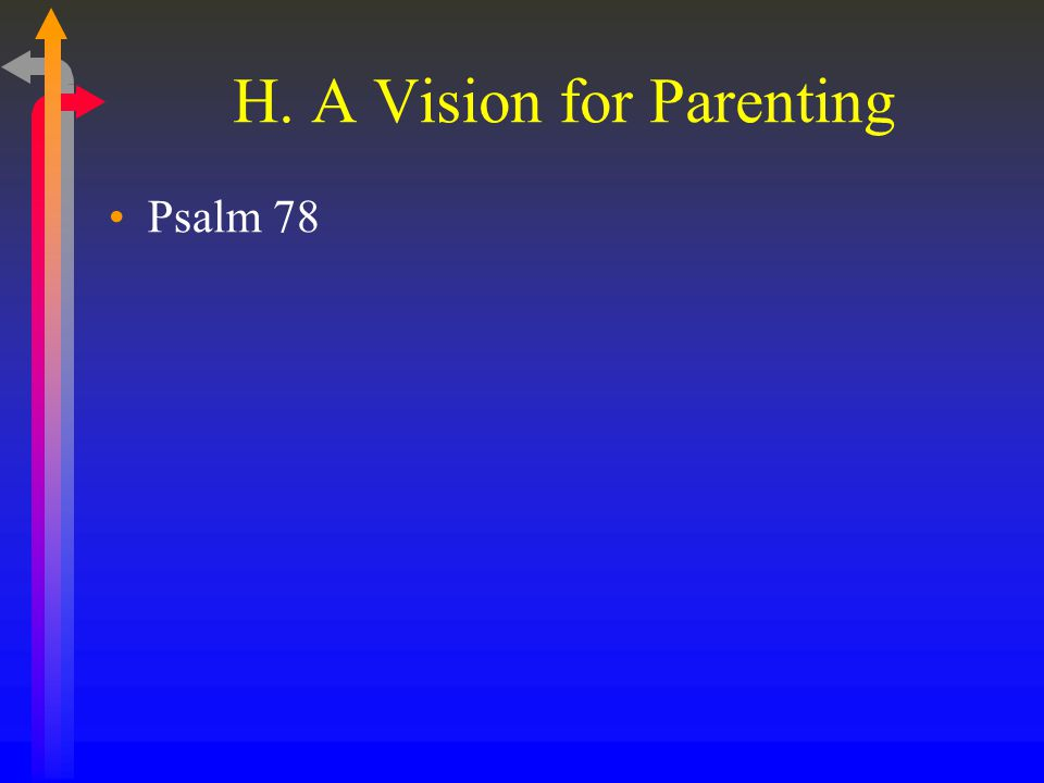 H. A Vision for Parenting Psalm 78