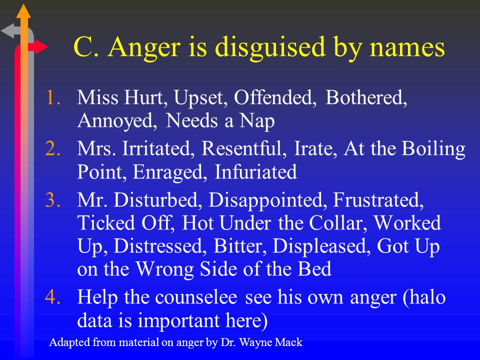 C. Anger is disguised by names 1.Miss Hurt, Upset, Offended, Bothered, Annoyed, Needs a Nap 2.Mrs.