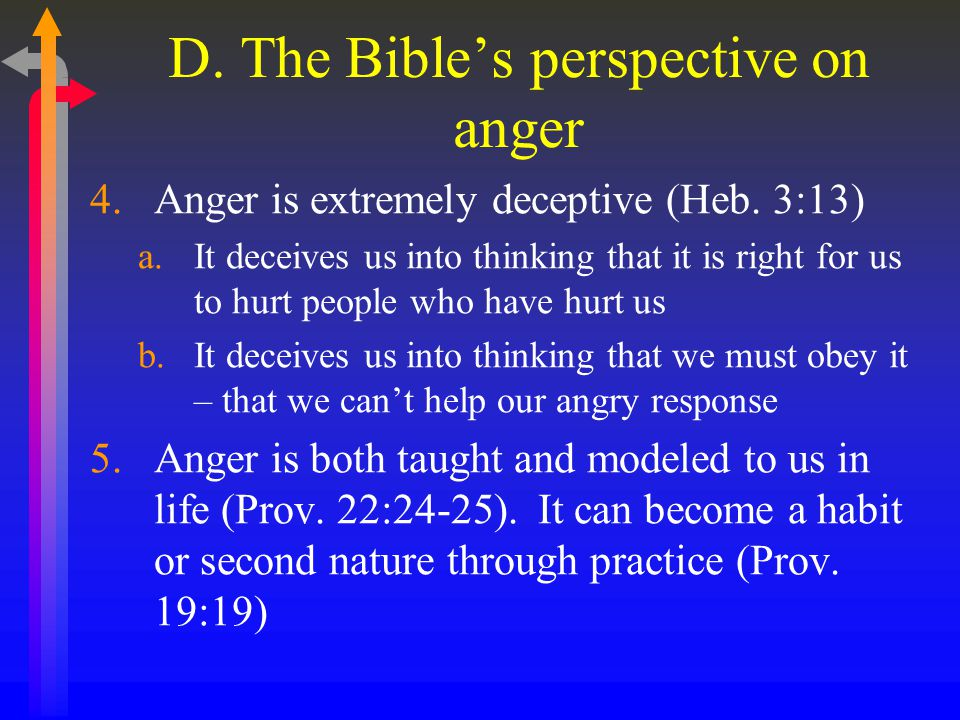 D. The Bible's perspective on anger 4.Anger is extremely deceptive (Heb.