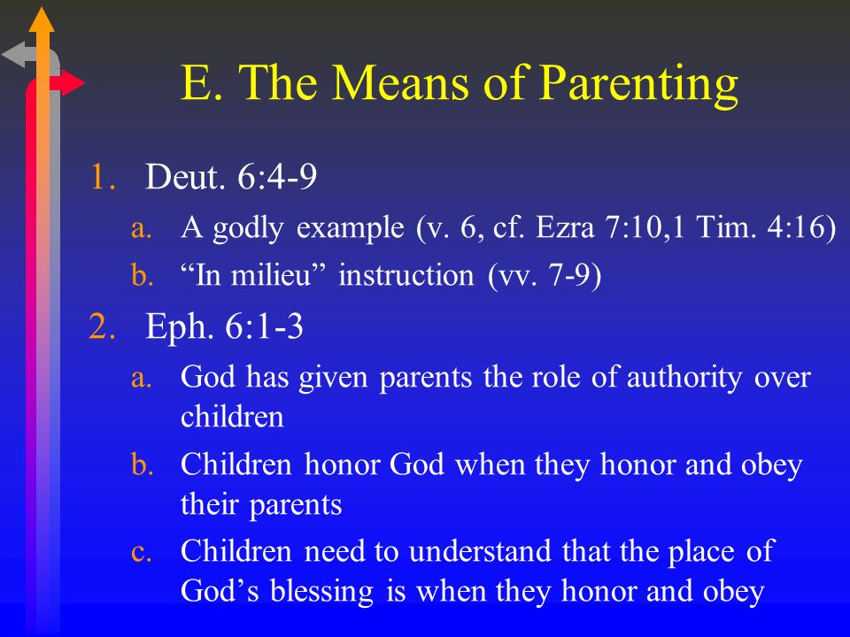 E. The Means of Parenting 1.Deut. 6:4-9 a.A godly example (v.