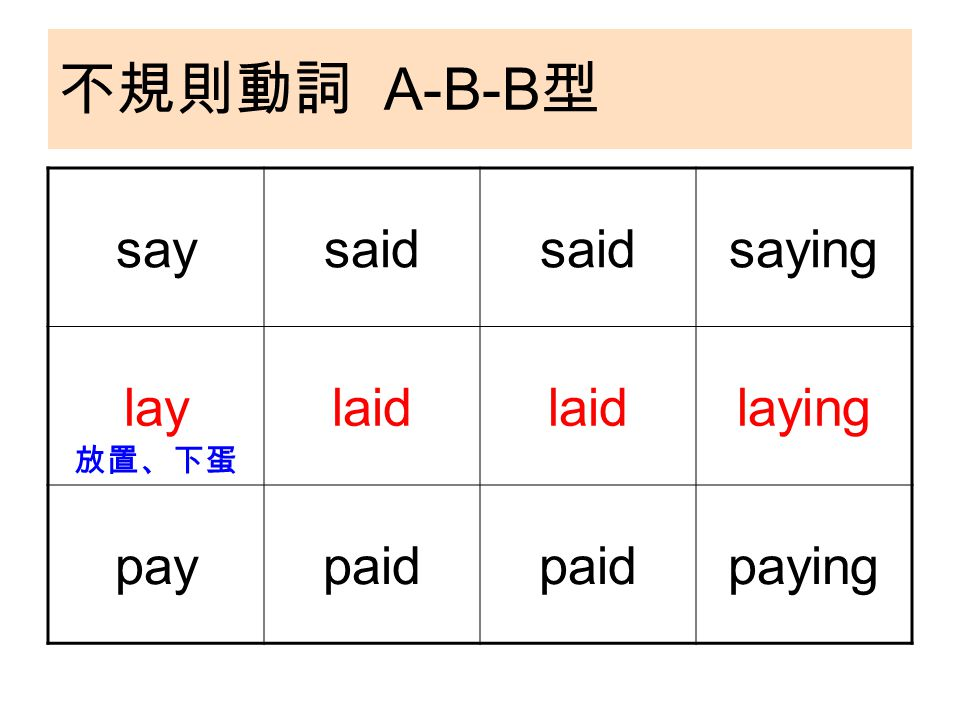 不規則動詞 A-B-B 型 saysaid saying laylaid laying paypaid paying 放置、下蛋
