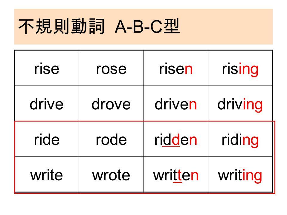 不規則動詞 A-B-C 型 riseroserisenrising drivedrovedrivendriving rideroderiddenriding writewrotewrittenwriting