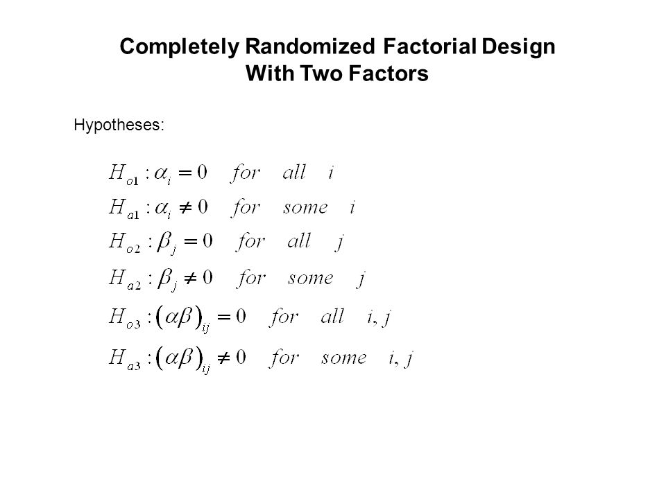 Completely Randomized Factorial Design With Two Factors Hypotheses: