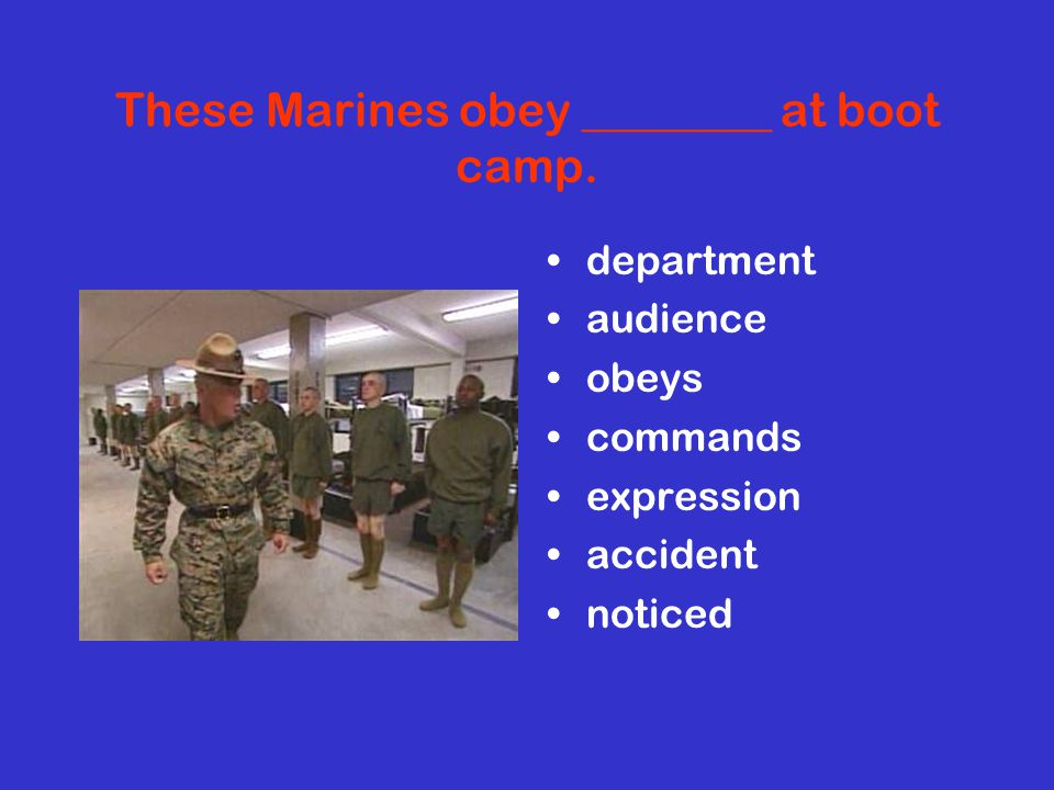 These Marines obey ________ at boot camp.