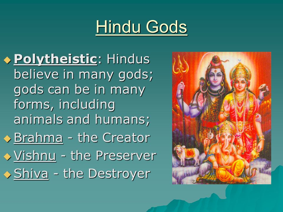 Hindu Gods  Polytheistic: Hindus believe in many gods; gods can be in many forms, including animals and humans;  Brahma - the Creator  Vishnu - the Preserver  Shiva - the Destroyer