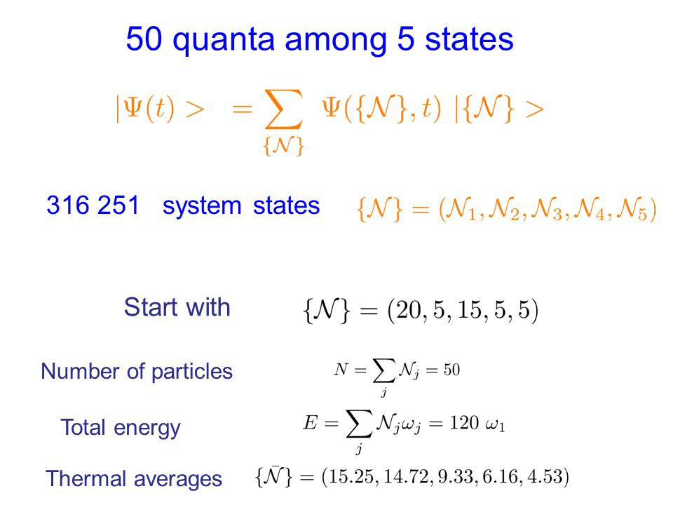 50 quanta among 5 states 316 251 system states Start with Number of particles Total energy Thermal averages