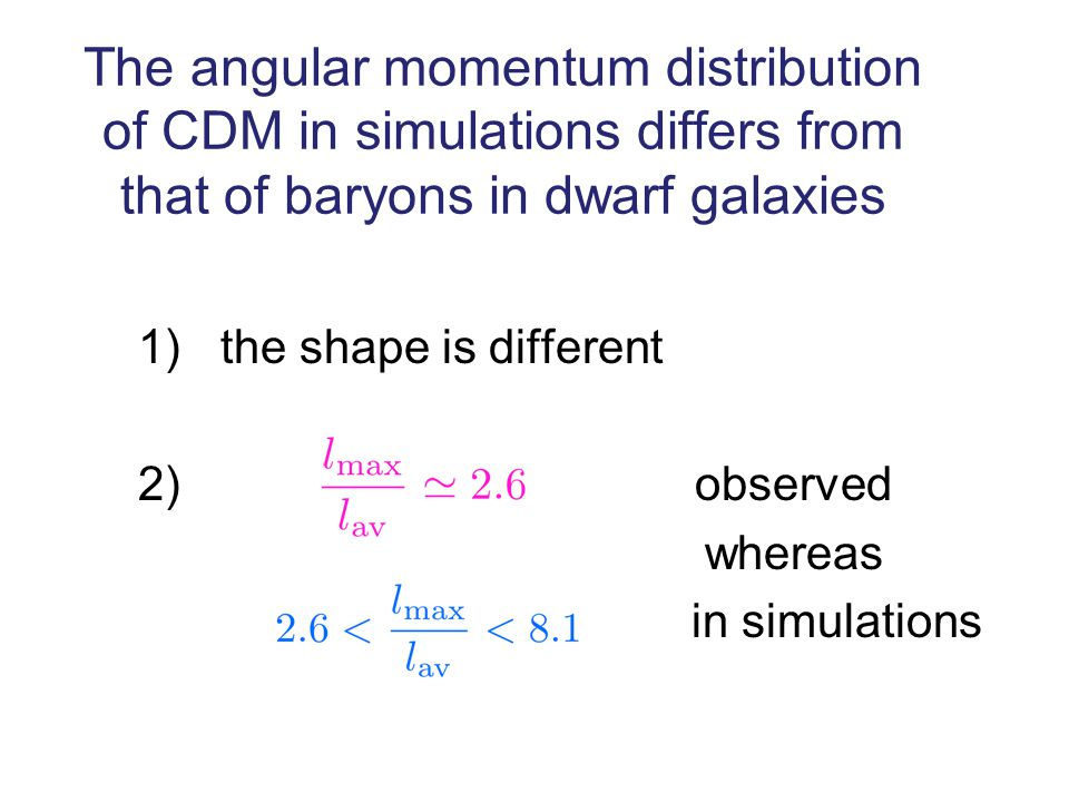 The angular momentum distribution of CDM in simulations differs from that of baryons in dwarf galaxies 1) the shape is different 2) observed whereas in simulations