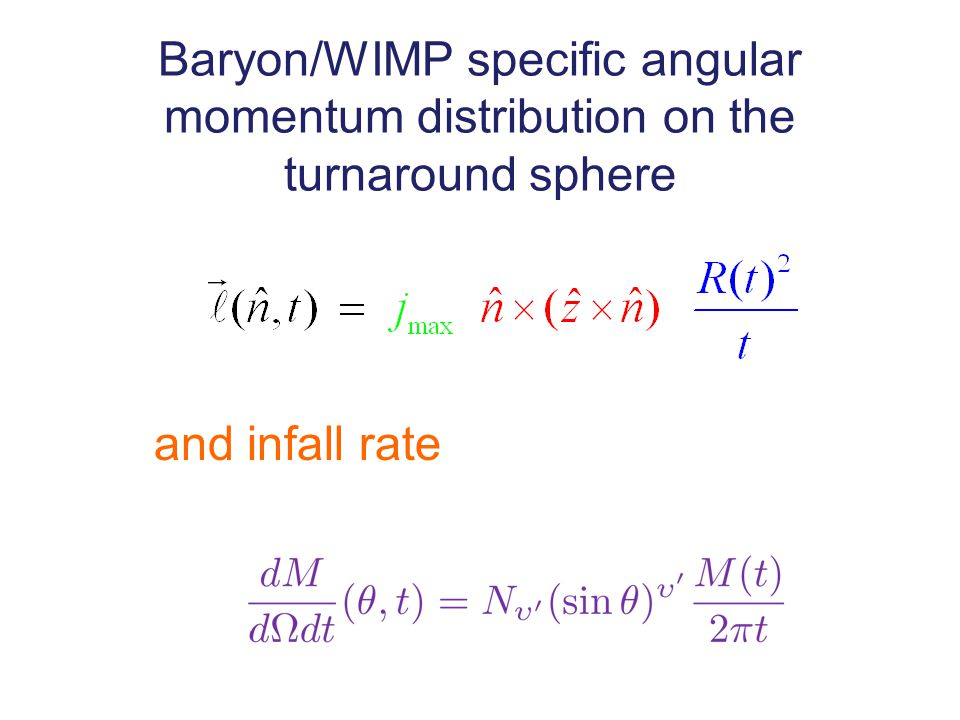 Baryon/WIMP specific angular momentum distribution on the turnaround sphere and infall rate