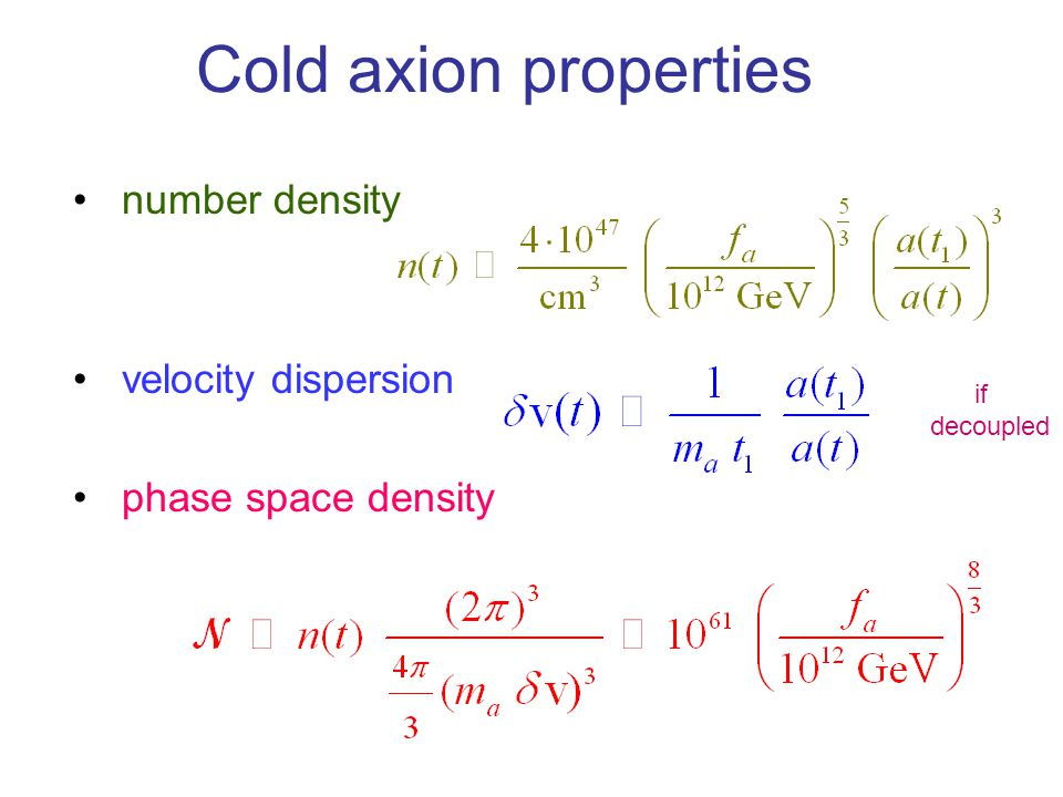 Cold axion properties number density velocity dispersion phase space density if decoupled