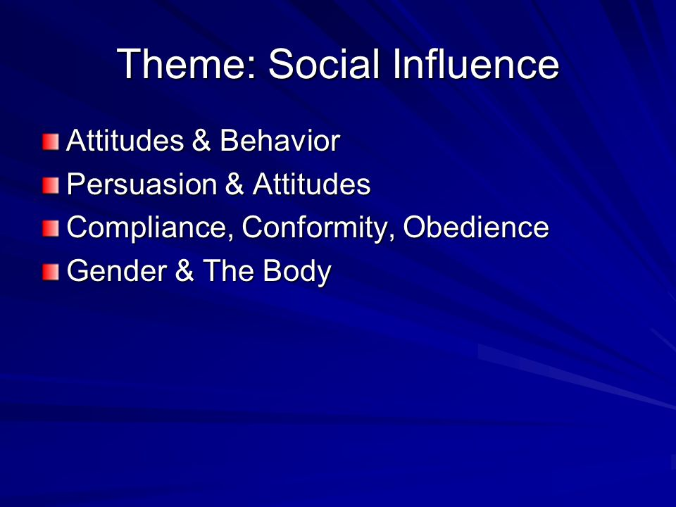 Theme: Social Influence Attitudes & Behavior Persuasion & Attitudes Compliance, Conformity, Obedience Gender & The Body