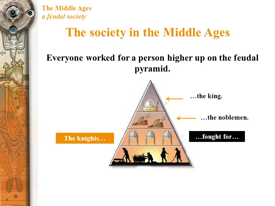 The Middle Ages a feudal society The society in the Middle Ages Everyone worked for a person higher up on the feudal pyramid.