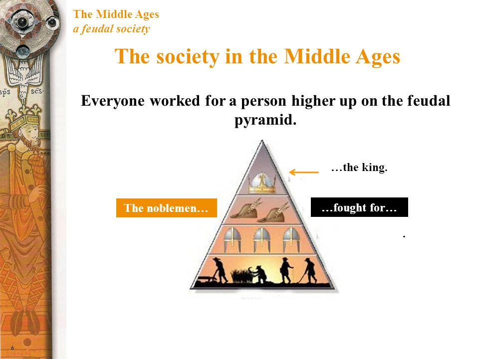 The Middle Ages a feudal society The society in the Middle Ages Everyone worked for a person higher up on the feudal pyramid. The noblemen… …fought fo