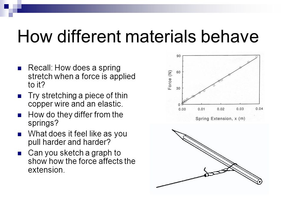 Elastic and wire Different materials react differently when a force is applied to them.