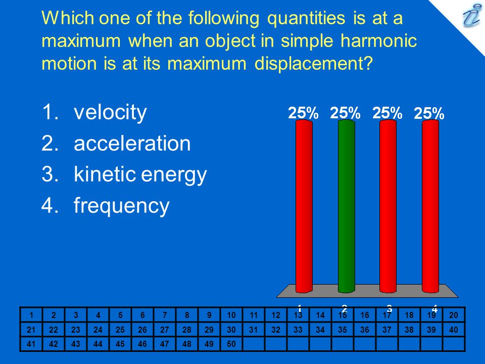 Which one of the following quantities is at a maximum when an object in simple harmonic motion is at its maximum displacement? 12345678910111213141516