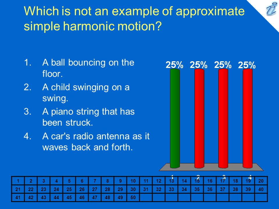Which is not an example of approximate simple harmonic motion? 1234567891011121314151617181920 2122232425262728293031323334353637383940 41424344454647