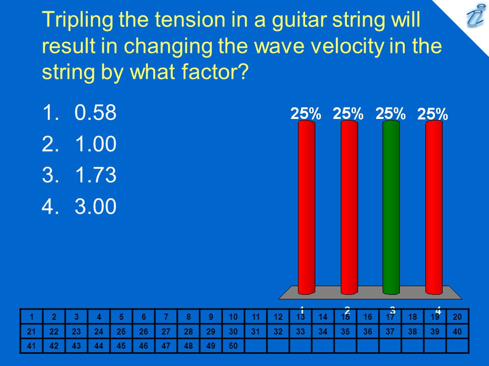 Tripling the tension in a guitar string will result in changing the wave velocity in the string by what factor? 1234567891011121314151617181920 212223