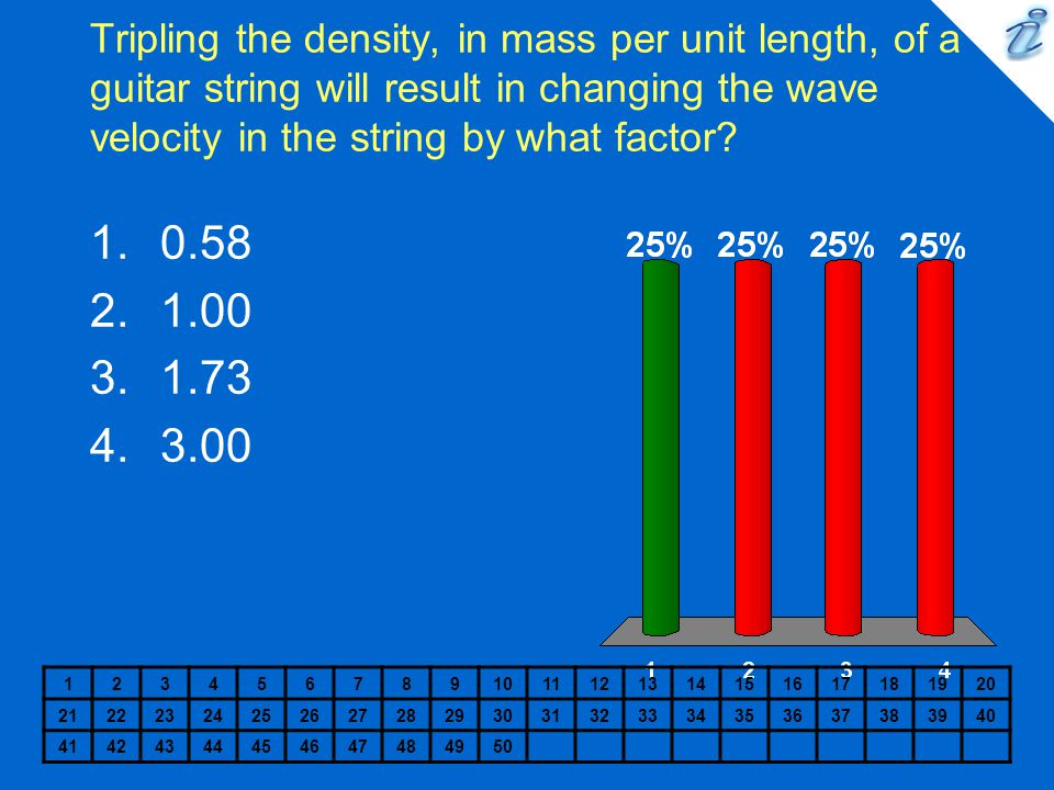 Tripling the density, in mass per unit length, of a guitar string will result in changing the wave velocity in the string by what factor.