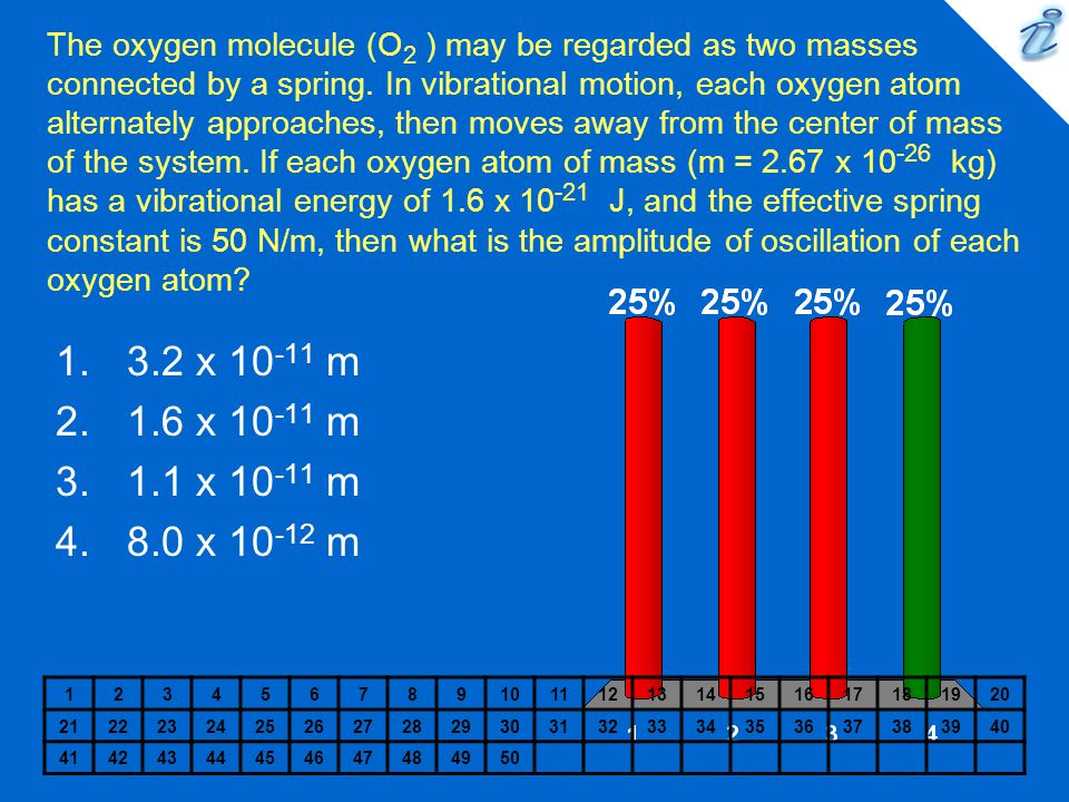 The oxygen molecule (O 2 ) may be regarded as two masses connected by a spring.