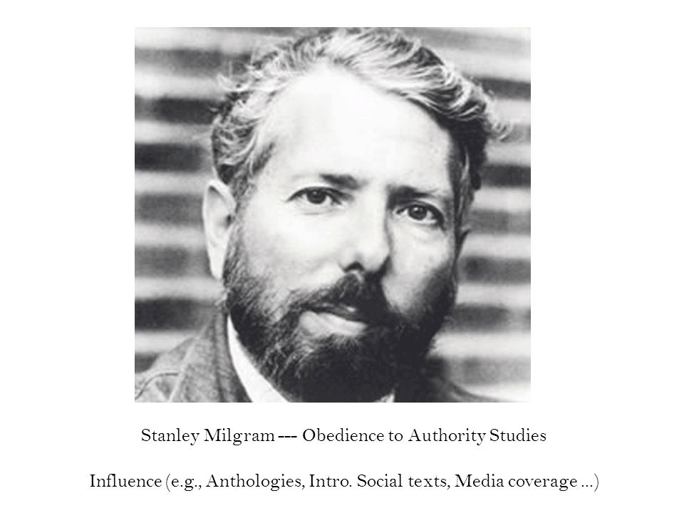 Stanley Milgram --- Obedience to Authority Studies Influence (e.g., Anthologies, Intro.