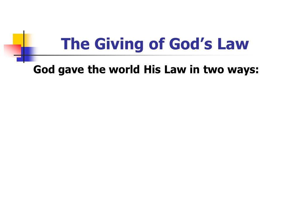 The Reason for God's Law 1. The Law serves as amirroror curbto All people (S.O.S.) for