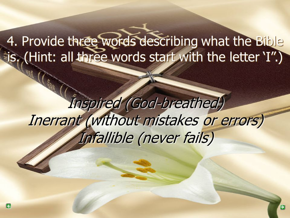 4. Provide three words describing what the Bible is.