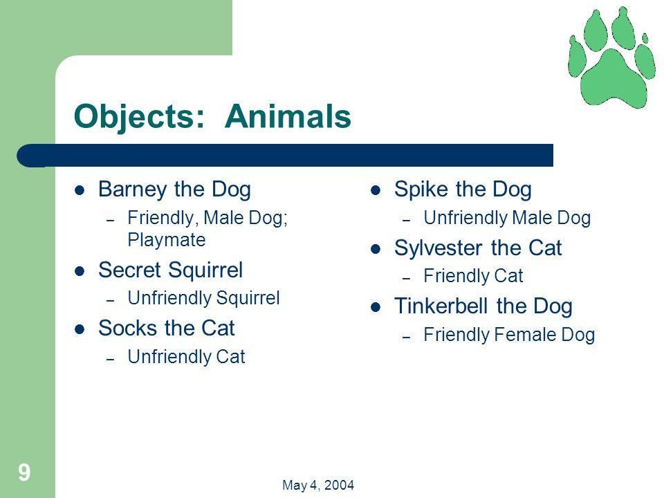 9 May 4, 2004 Objects: Animals Barney the Dog – Friendly, Male Dog; Playmate Secret Squirrel – Unfriendly Squirrel Socks the Cat – Unfriendly Cat Spik