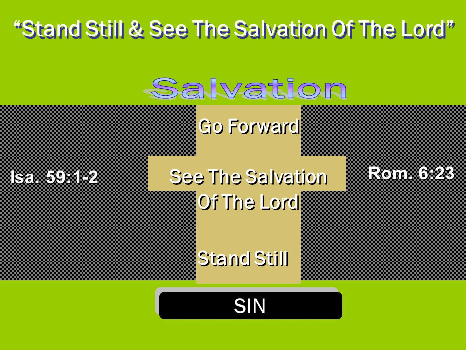 """""""Stand Still & See The Salvation Of The Lord"""" SIN Stand Still See The Salvation Of The Lord See The Salvation Of The Lord Go Forward Isa. 59:1-2 Rom."""