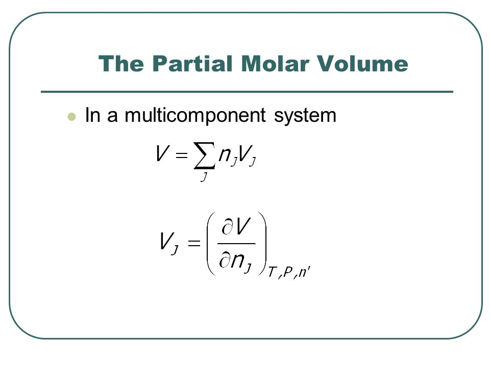 The Partial Molar Volume In a multicomponent system