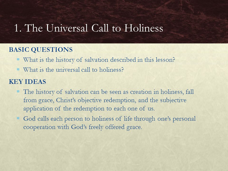 BASIC QUESTIONS  What is the history of salvation described in this lesson.