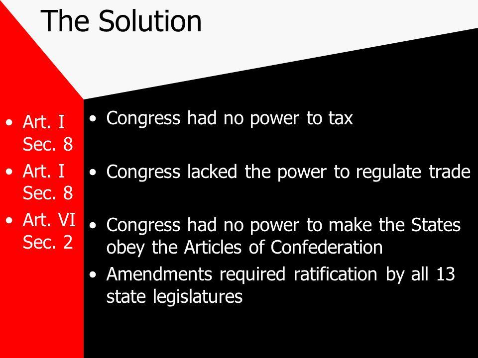 The Solution Art.I Sec. 8 Art. VI Sec.