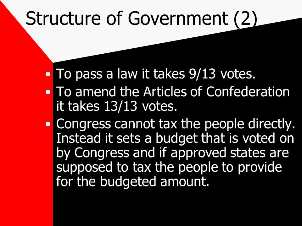 Structure of Government (2) To pass a law it takes 9/13 votes.