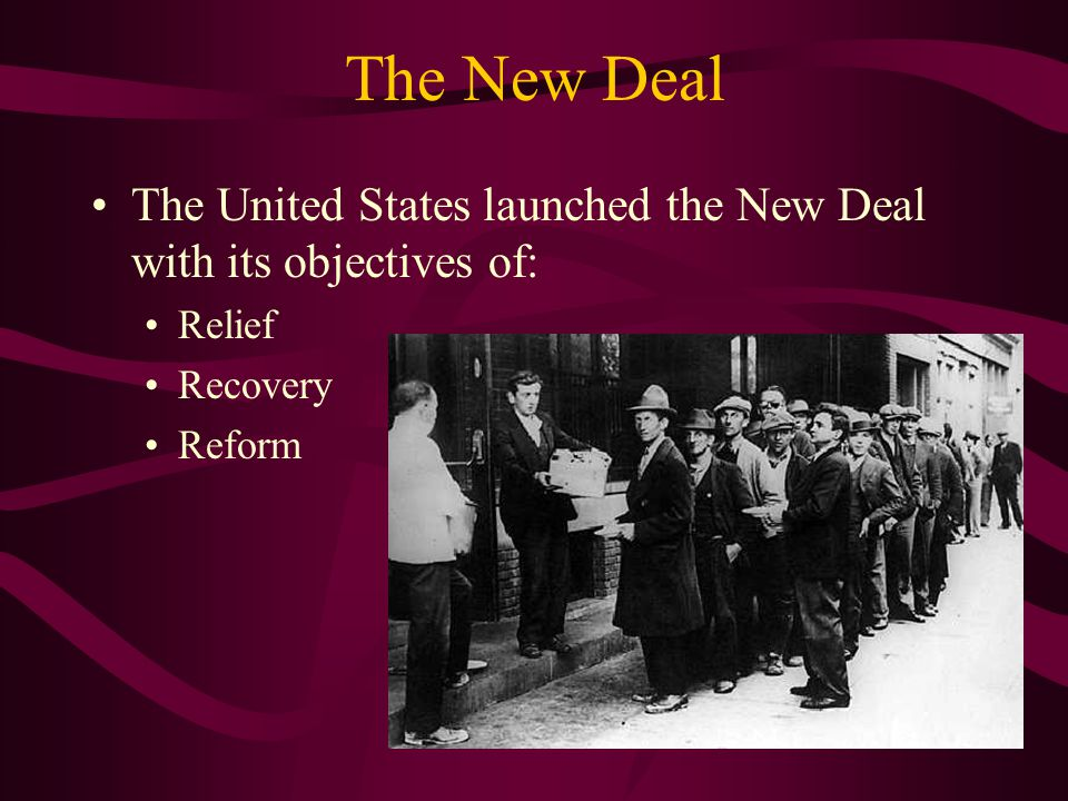 The New Deal The United States launched the New Deal with its objectives of: Relief Recovery Reform