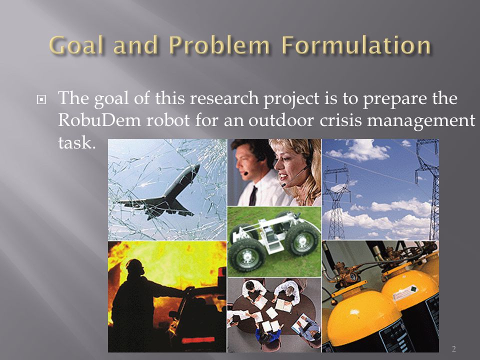  To achieve this goal, the robot must be able to:  Be tele-operated by a remote user  Ensure its own safety by avoiding obstacles detected by its sensors (sonar, stereo, …)  Navigate autonomously in an unknown environment by mapping the surroundings  Detect chemical contamination  Navigate to pre-defined goal positions  Execute complex tasks like searching for human victims  Here we will focus on the design of the control architecture for such a robot 3