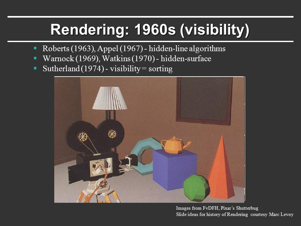1970s - raster graphics  Gouraud (1971) - diffuse lighting, Phong (1974) - specular lighting  Blinn (1974) - curved surfaces, texture  Catmull (1974) - Z-buffer hidden-surface algorithm Rendering: 1970s (lighting)