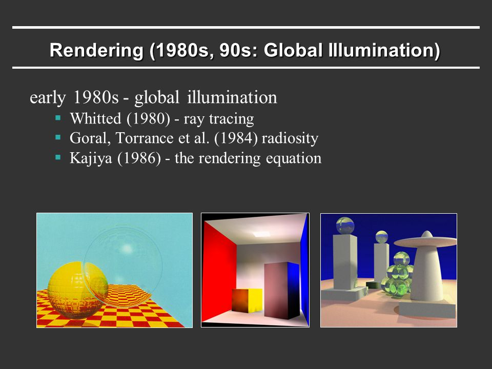 Rendering (1980s, 90s: Global Illumination) early 1980s - global illumination  Whitted (1980) - ray tracing  Goral, Torrance et al. (1984) radiosity