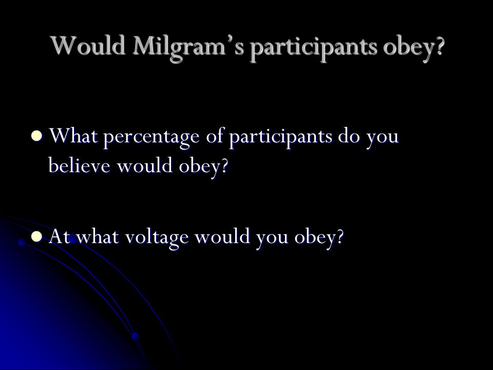 Would Milgram's participants obey. What percentage of participants do you believe would obey.