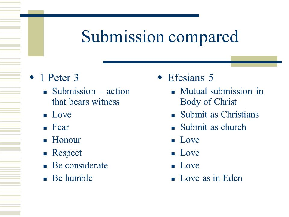 Submission compared  1 Peter 3 Submission – action that bears witness Love Fear Honour Respect Be considerate Be humble  Efesians 5 Mutual submissio