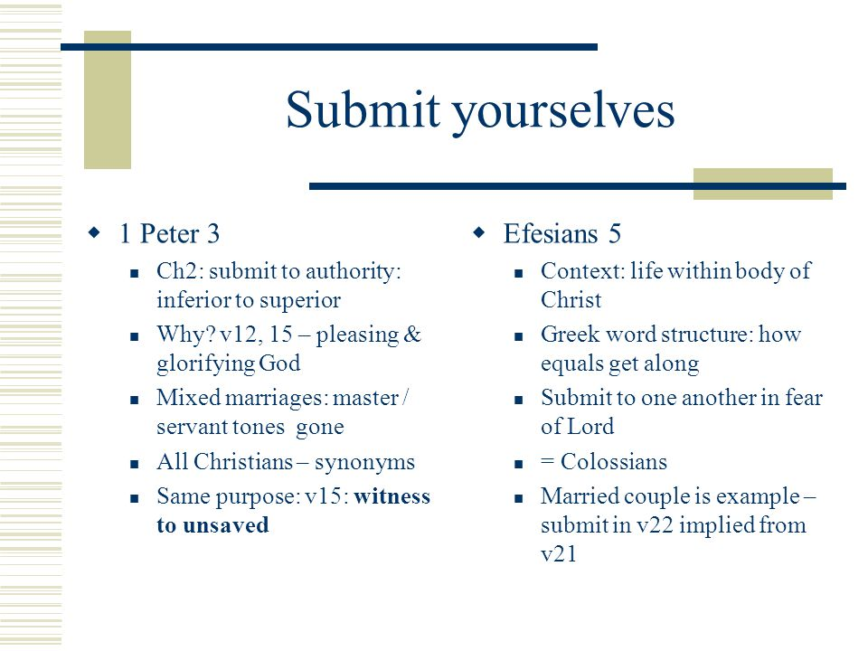 Submit yourselves  1 Peter 3 Ch2: submit to authority: inferior to superior Why.