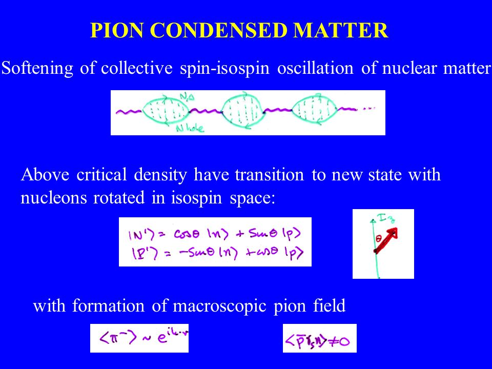 PION CONDENSED MATTER Softening of collective spin-isospin oscillation of nuclear matter Above critical density have transition to new state with nucl