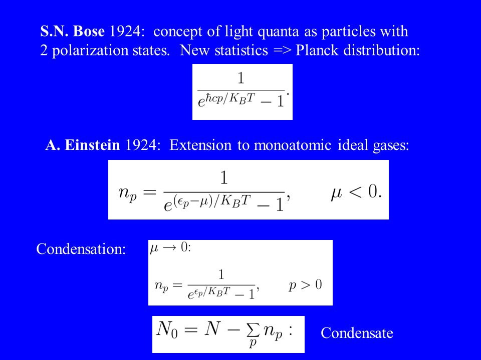 S.N. Bose 1924: concept of light quanta as particles with 2 polarization states.