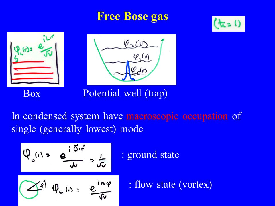 Free Bose gas Box Potential well (trap) In condensed system have macroscopic occupation of single (generally lowest) mode : ground state : flow state (vortex)