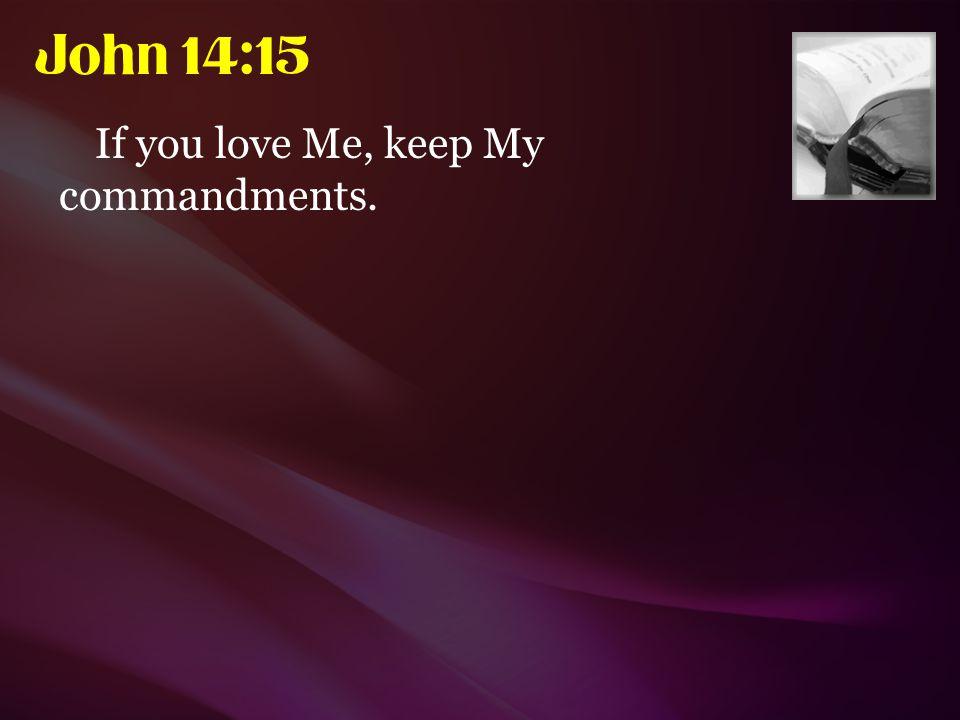 John 14:15 If you love Me, keep My commandments.