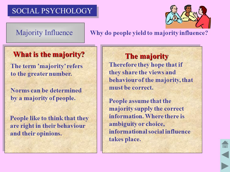 Majority Influence What is the majority.The majority Why do people yield to majority influence.