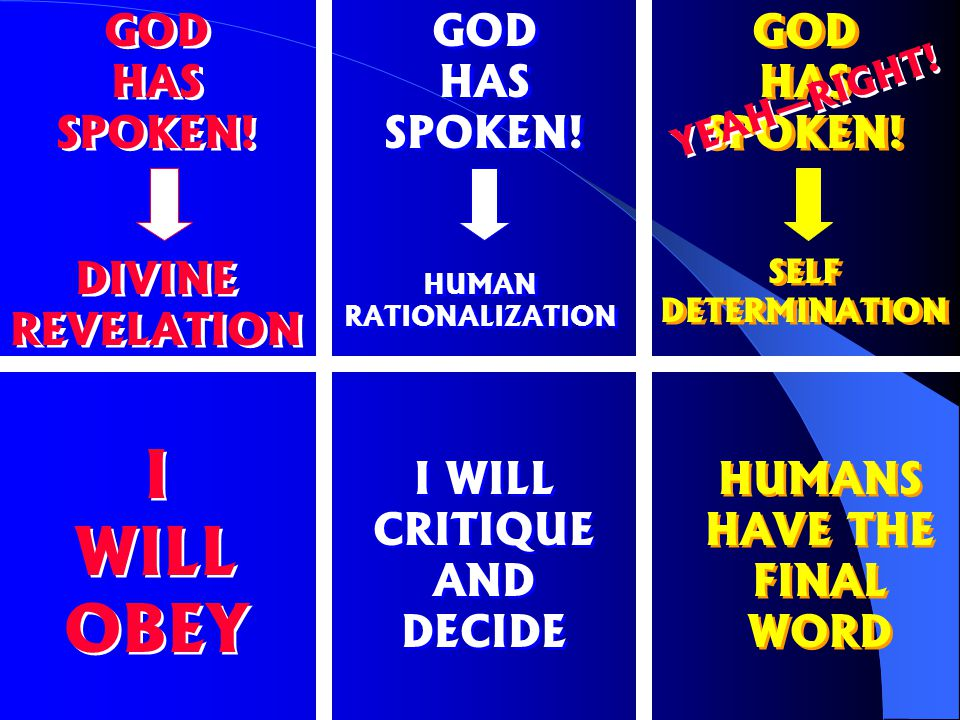 GOD HAS SPOKEN.SELF DETERMINATION HUMANS HAVE THE FINAL WORD YEAH—RIGHT.