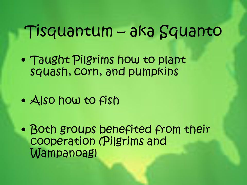 Tisquantum – aka Squanto Taught Pilgrims how to plant squash, corn, and pumpkins Also how to fish Both groups benefited from their cooperation (Pilgri