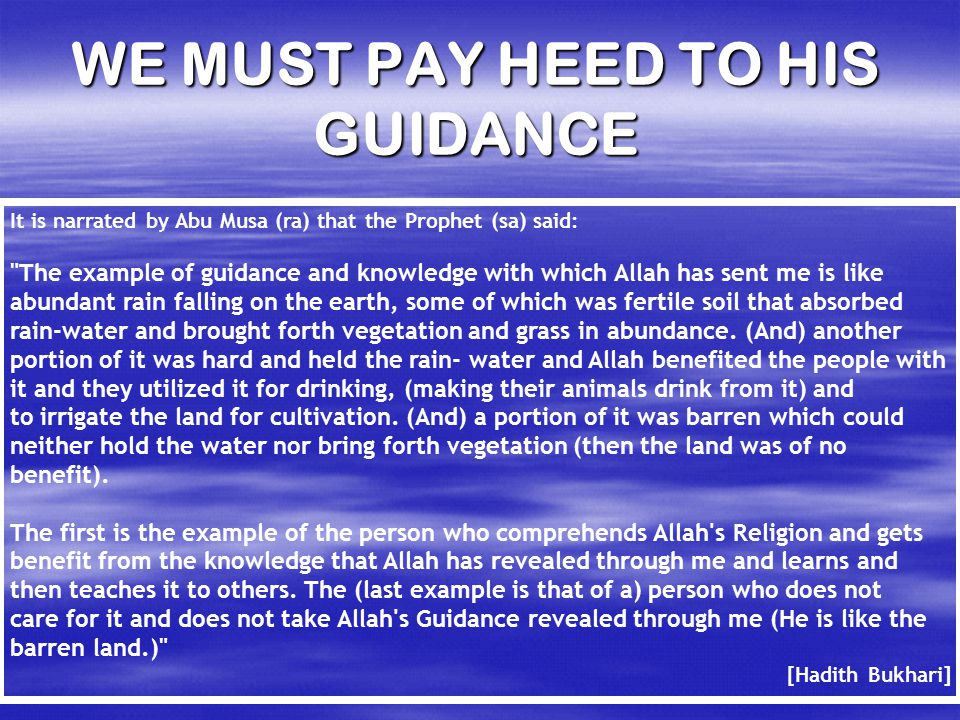 WE MUST PAY HEED TO HIS GUIDANCE It is narrated by Abu Musa (ra) that the Prophet (sa) said: The example of guidance and knowledge with which Allah has sent me is like abundant rain falling on the earth, some of which was fertile soil that absorbed rain-water and brought forth vegetation and grass in abundance.