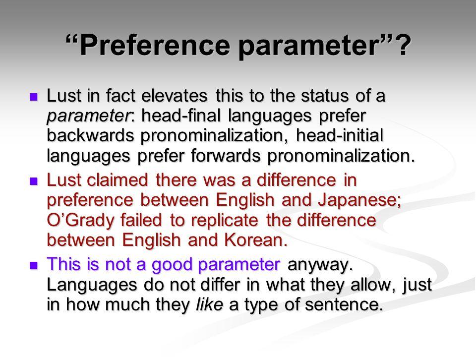 Preference parameter .