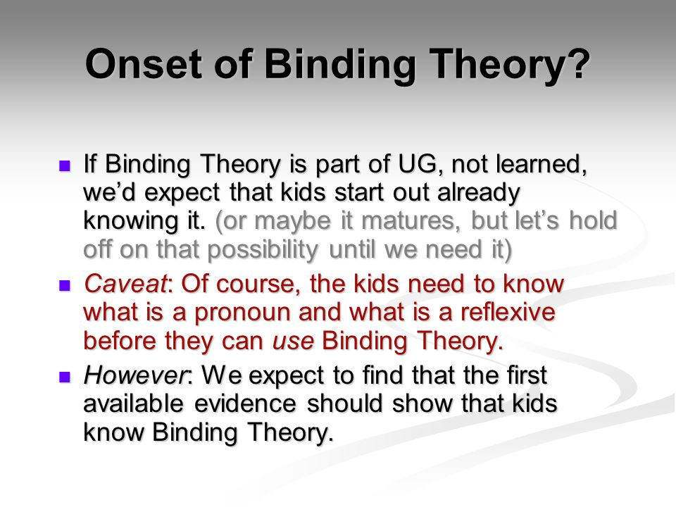 Onset of Binding Theory.