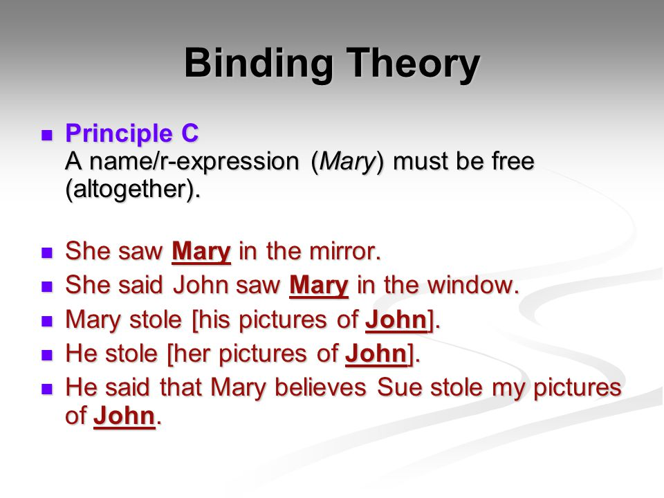 Binding Theory Principle C A name/r-expression (Mary) must be free (altogether).