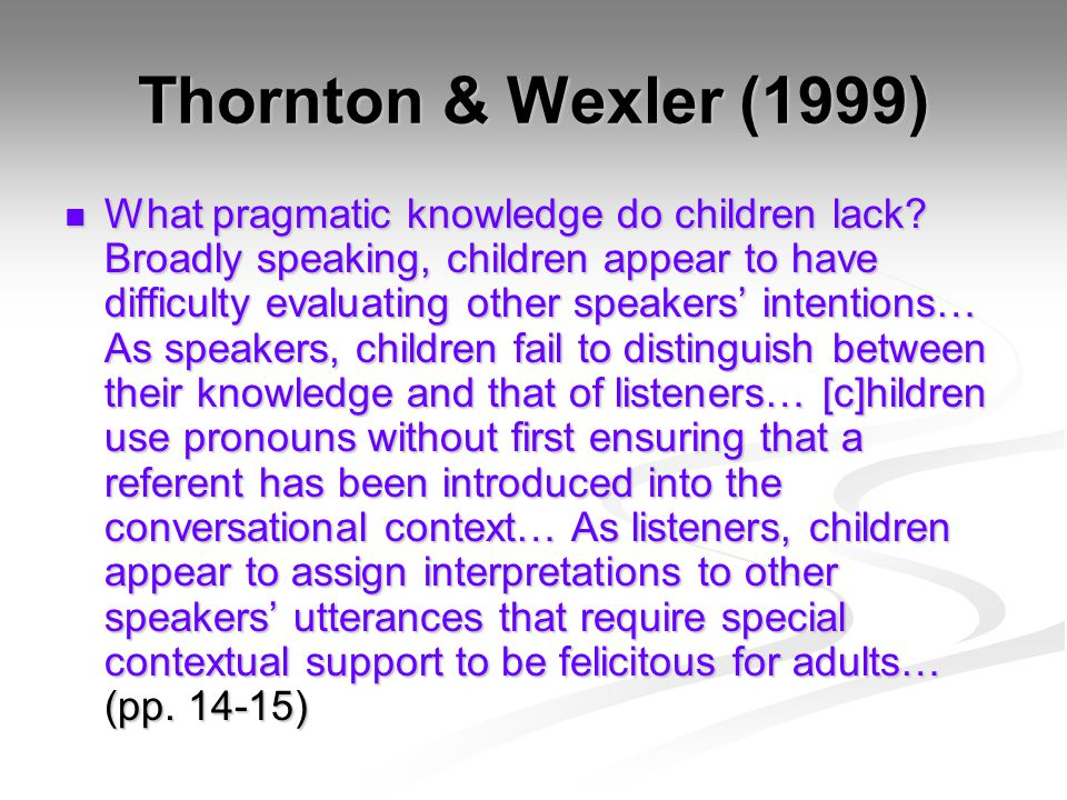 Thornton & Wexler (1999) What pragmatic knowledge do children lack.